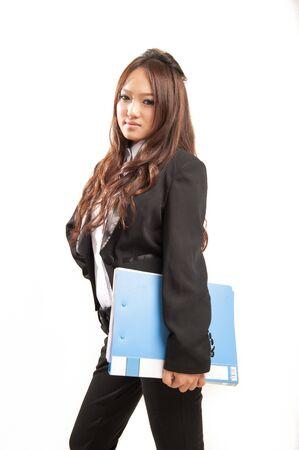 Aziatisch kantoor dame in zwart pak
