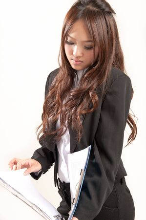 asian office lady in black suit photo