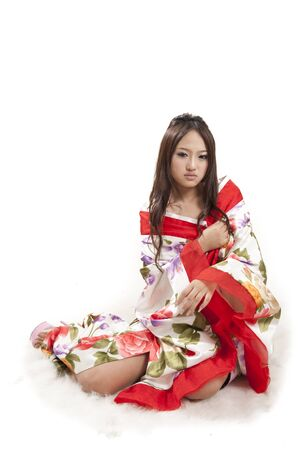 sexy asian woman in red Kimono photo