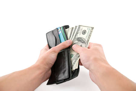 negotiable instrument: Wallet with money in hands, isolated white Stock Photo
