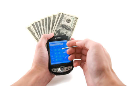 Palm computer with money in hands, isolated white photo