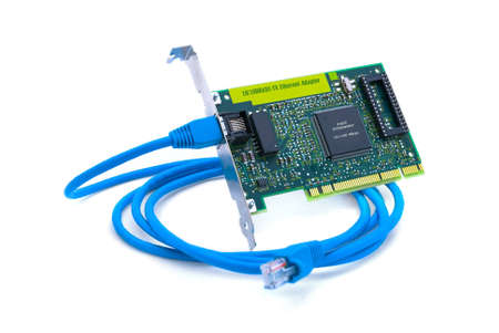Computer network adapter with wire, isolated