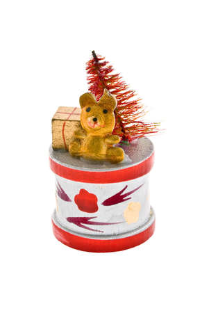 Wooden colourful Christmas toy, isolated white background