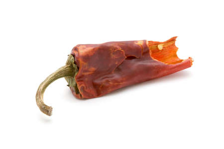 Hot dried red chili pepper, isolated white