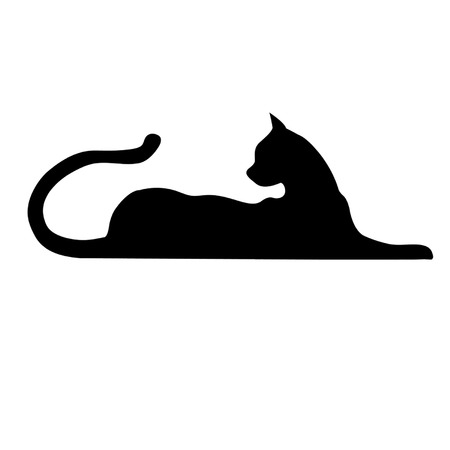 animal silhouette: black cat Illustration