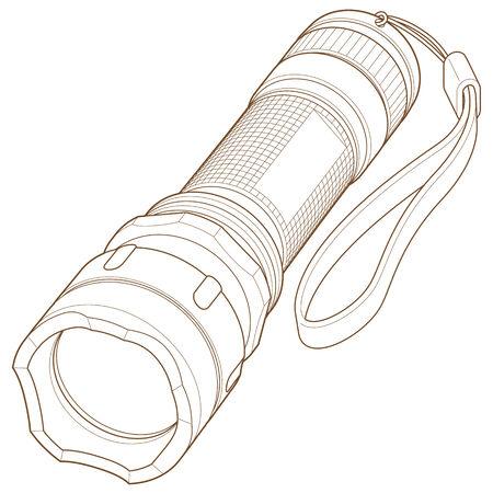 Flashlight with Hand Strap Line Art