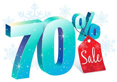 pricetag: Seventy Percent Winter Sale Discount Illustration