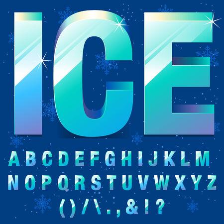 Frozen Ice Letters Alphabet Vector