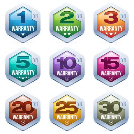 Garantía Seal Badge metal Ilustración de vector