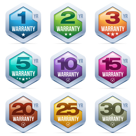 1 year warranty: Warranty Seal Metal Badge Illustration