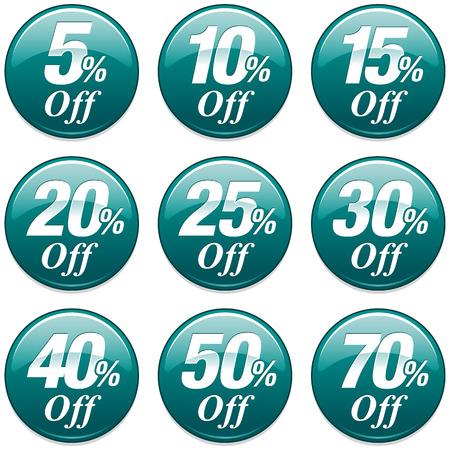 青緑でショッピング販売割引バッジ  イラスト・ベクター素材