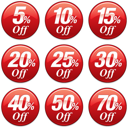 Shopping Sale Discount Badge in Red Stok Fotoğraf - 43088428