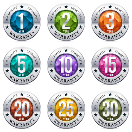 Warranty Seal Round Chrome Badge Illustration