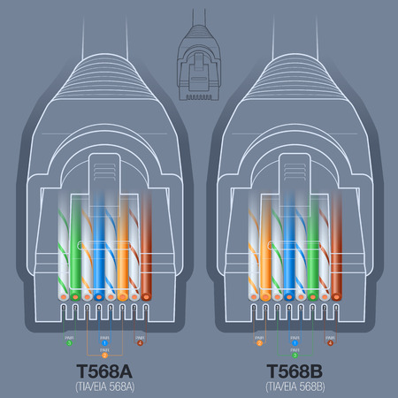 45694360 rj45 network cable connector t568a t568b wiring diagram?ver=6 rj45 network cable connector t568a, t568b wiring diagram royalty