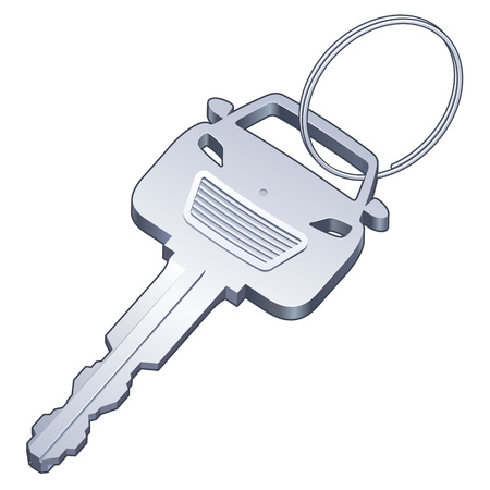 key ring: Car Key on a Ring Illustration