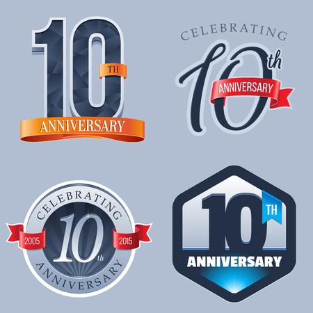 10 年周年記念ロゴ  イラスト・ベクター素材