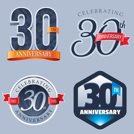 30 年周年記念ロゴ  イラスト・ベクター素材