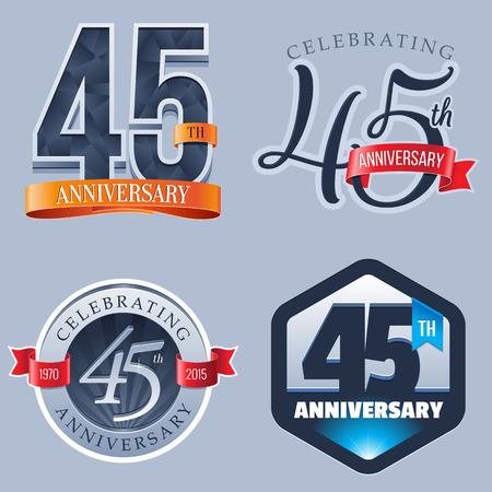 45 Years Anniversary Logo 向量圖像