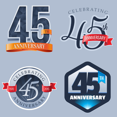 45 Years Anniversary Logo Ilustração