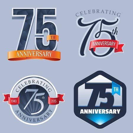 75 Years Anniversary Logo Ilustração