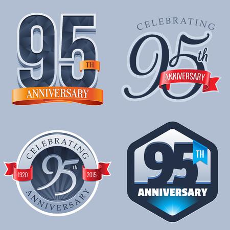 95 Years Anniversary Logo Ilustração