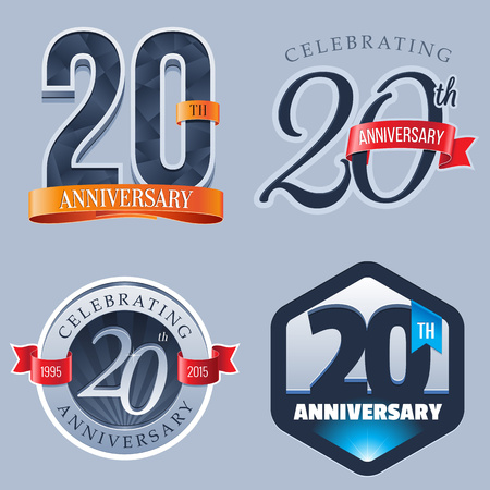 aniversario: 20 Años Aniversario Logo Vectores