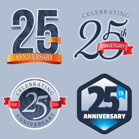 year: 25 Years Anniversary Logo Illustration