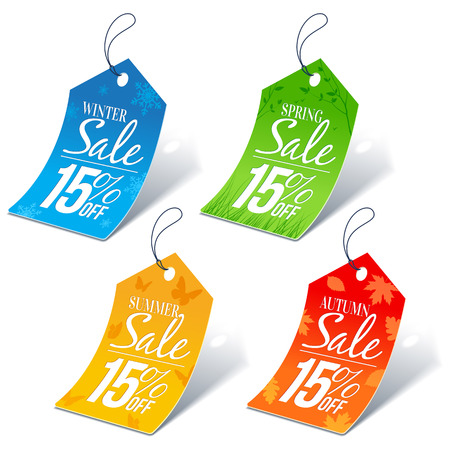 pricetag: Seasonal Shopping Sale 15 Percent Off Discount Price Tags Illustration