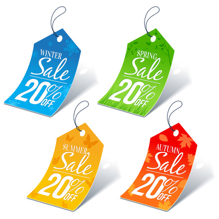 pricetag: Seasonal Shopping Sale 20 Percent Off Discount Price Tags