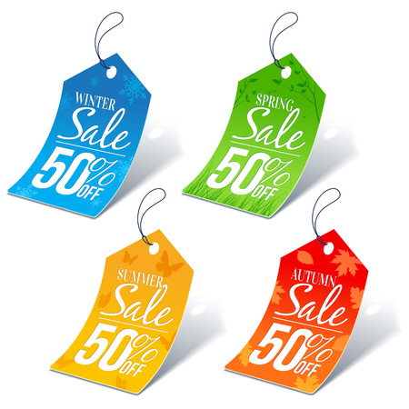 pricetag: Seasonal Shopping Sale 50 Percent Off Discount Price Tags