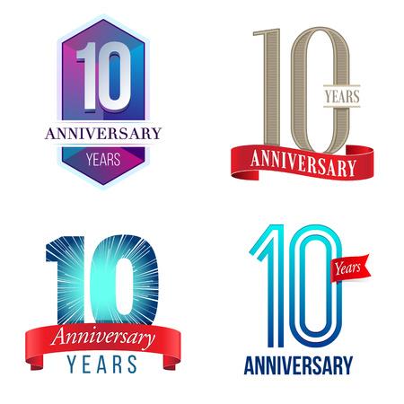 10 周年記念  イラスト・ベクター素材