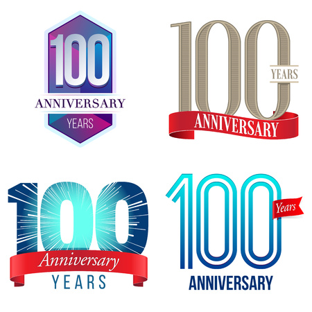 100 周年記念行事  イラスト・ベクター素材