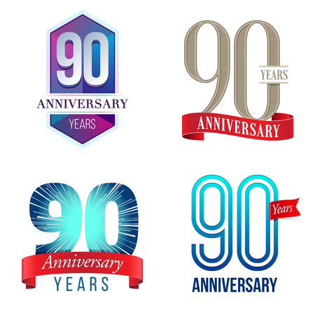 90 years: 90 Years Anniversary Logo Illustration