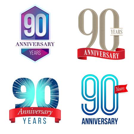90 Years Anniversary Logo Ilustração