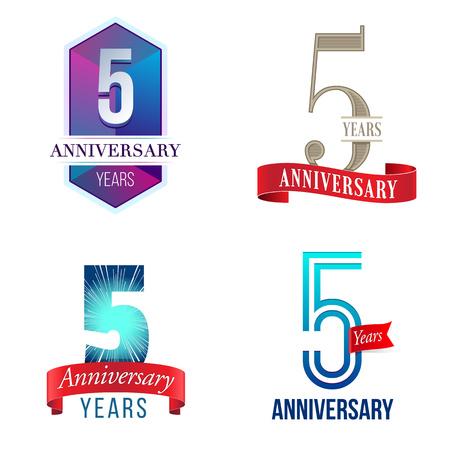 aniversario de boda: 5 Años de Aniversario Vectores
