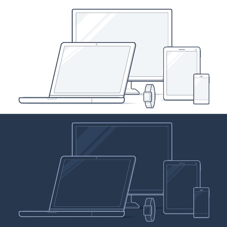 electronic devices: Set of Electronic Devices  - Desktop Computer Monitor, Notebook Laptop, Tablet, Mobile Cell Phone and Wearable Wrist Smart Watch