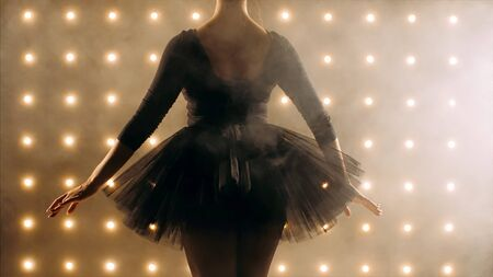 Silhouette of ballerina in black tutu is dancing ballet in the dark studio with smoke and the lights on the background, back view.