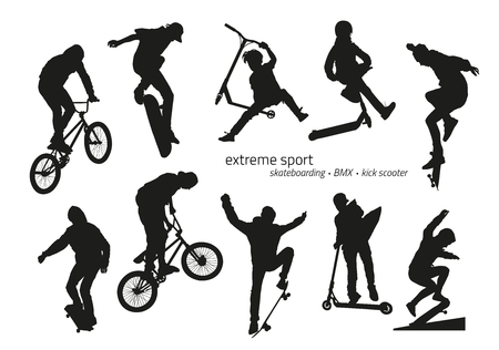 black youth: Extreme sport silhouette - skateboarding, kick scooter, BMX. Vector illustration Illustration