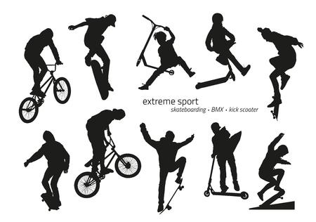 Silhouette sportiva estrema - skateboard, scooter kick, BMX. Illustrazione vettoriale