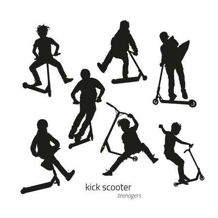 Jumping on a kick scooter silhouettes teen on the white background. Vector illustration Vectores