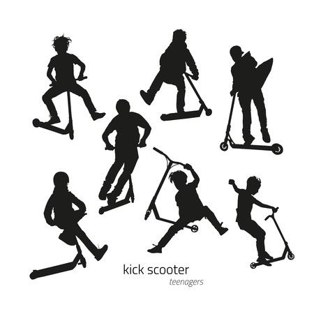 patada: Saltando sobre un saque de siluetas de scooter adolescente en el fondo blanco. ilustración vectorial