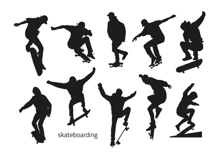 black and white: black silhouettes of skateboarders on a white background