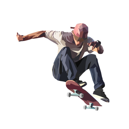 Skateboarder doing a jumping trick, low poly vector illustration