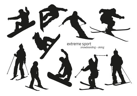 extreme: inter extreme sport silhouette - snowboarding, skiing. Vector illustration