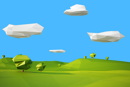 low poly landscaped with lawn and trees Stock Photo