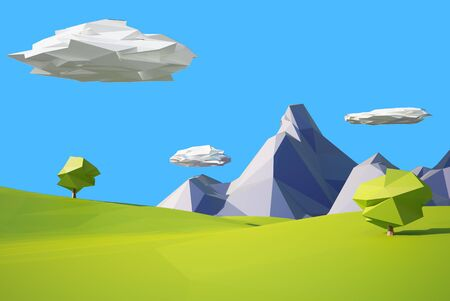 pink hills: low poly mountain landscape