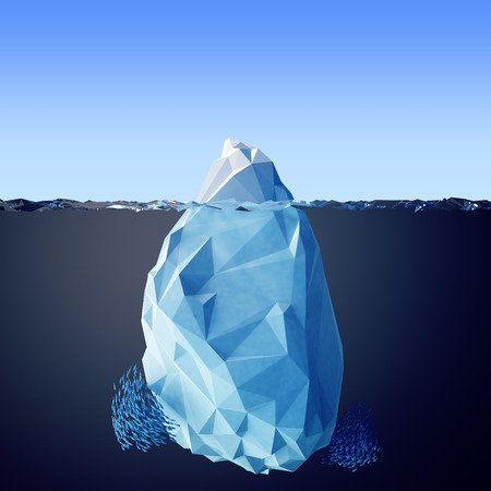 Illustration of the iceberg in the sea