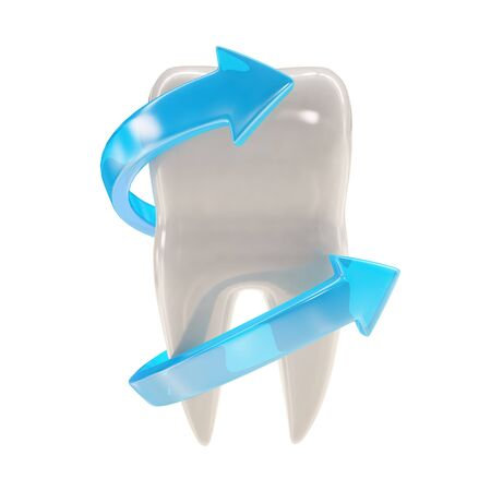 fluoride: 3d illustration of a tooth
