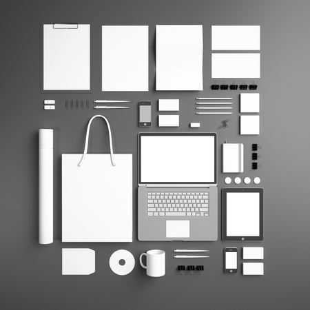 tubus: corporate identity Mock Up on a gray background. Set includes a laptop, a tube, a pencil, a tablet, a smartphone; icon; clip, business cards, pens, CD, flash card, paper clips, erasers, cup, sticker