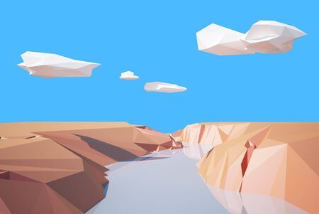 colorado mountains: river in the canyon low poly